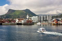 Svolvaer harbor in Lofoten in Norway stock image