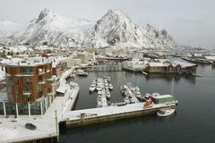 Svolvaer harbor on March, 26, 2011. Royalty Free Stock Images