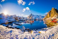 Free SVOLVAER, LOFOTEN ISLANDS, NORWAY APRIL 10, 2018: View To The Harbor With Buildings And Boats In Svolvaer, Starting Stock Photography - 114377012