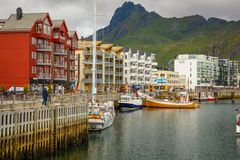 Svolvaer, Norway - 21.06.2018: Scenic View Of Svolvaer Is A Fishing Village And Tourist Town Located On Austvagoya In Stock Photos