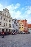 Svornosti广场在捷克克鲁姆洛夫,捷克 库存图片