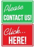 Svp contactez-nous et signes de magasin de cliquez ici Images libres de droits
