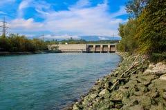 Svuotamento della diga Verbois Fotografie Stock Libere da Diritti