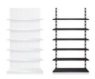 Svuoti gli scaffali del negozio in bianco e nero Immagine Stock