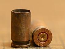 Svuoti i bossoli della pallottola di 9mm Fotografie Stock Libere da Diritti