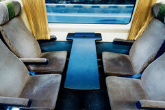 Svuoti i sedili del treno Fotografie Stock