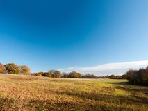 Svuoti il cielo blu aperto dell'agricoltura della pianura di scena della terra dell'azienda agricola della superficie a pascolo Fotografie Stock