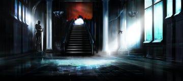 Svuoti il corridoio abbandonato del castello Fotografie Stock