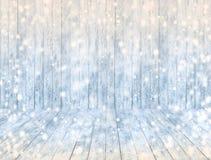 Svuoti il fondo di legno del pannello del ghiaccio e pavimento o tavola di legno del ghiaccio con neve Immagine Stock