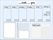 Svuoti il pianificatore settimanale con l'inseguitore del livello dell'acqua, spazio per le note, illustrazione di stock