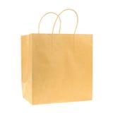 Svuoti il sacchetto della spesa di carta riciclato marrone isolato su backgr bianco Fotografie Stock Libere da Diritti