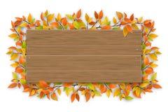 Svuoti il segno di legno con il ramo di albero di autunno di colore Fotografie Stock