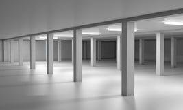 Svuoti l'area di parcheggio sotterranea 3d rendono i cilindri di image Immagine Stock Libera da Diritti