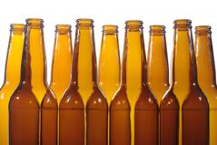 Svuoti la birra della bottiglia Fotografia Stock
