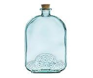 Svuoti la bottiglia di vetro con il tappo del sughero isolato su bianco. Fotografie Stock