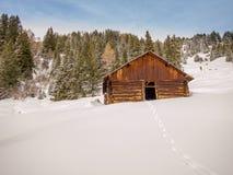 Svuoti la capanna del ceppo nelle alpi svizzere - 2 Fotografia Stock Libera da Diritti