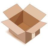 Svuoti la casella di carta aperta sopra bianco. Fotografia Stock