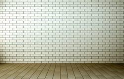 Svuoti la chiara stanza con il pavimento e il brickwall di legno Fotografia Stock