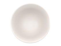Svuoti la ciotola bianca su fondo bianco, vista superiore Fotografia Stock