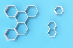 Svuoti la parete blu con gli scaffali di esagono sulla parete, la rappresentazione 3D Immagine Stock Libera da Diritti