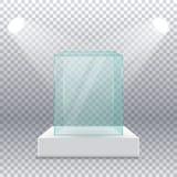 Svuoti la scatola di vetro trasparente sul piedistallo con i riflettori dai lati su un fondo trasparente illustrazione vettoriale