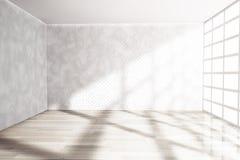Svuoti la stanza con la grande finestra rappresentazione 3d Fotografie Stock Libere da Diritti