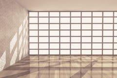 Svuoti la stanza con la grande finestra rappresentazione 3d Fotografia Stock Libera da Diritti