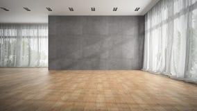Svuoti la stanza di progettazione moderna con la rappresentazione del pavimento di parquet 3D Fotografia Stock Libera da Diritti