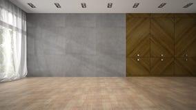 Svuoti la stanza di progettazione moderna con la rappresentazione di legno del gabinetto 3D Fotografia Stock Libera da Diritti