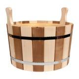 Svuoti la vasca di legno isolata per un bagno Fotografie Stock