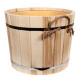 Svuoti la vasca di legno isolata per un bagno Fotografie Stock Libere da Diritti