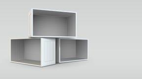 Svuoti le scatole aperte Fotografie Stock Libere da Diritti