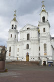 Svyato-Uspensky Cathedral and the monument to Patriarch Alexy II Stock Photos