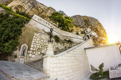 Svyato-Uspensky cave monastery at sunset Stock Images