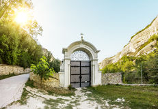 Svyato-Uspensky cave monastery at sunset, Chufut-Kale, Crimea Stock Photos