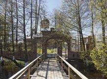 Svyato-Vvedensky Island Monastery near Pokrov town. Bridge to Svyato-Vvedensky Island Monastery near Pokrov town, Russia Stock Photography