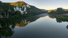 Svyatogorsk-Klostervogelperspektive, Ukraine Stockbilder