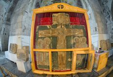 Svyatoslav cross. Relief song Crucifixion with the (Svyatoslav cross) that is stored in the St. George Cathedral in Yuriev-Polsky, Vladimir region stock image