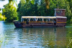 Svyturis beer company sponsored tours on a lake stock images
