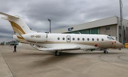 SW Business Aviation Gulfstream G280 in Istanbul Airshow. ISTANBUL, TURKEY - SEPTEMBER 30, 2018: SW Business Aviation Gulfstream G280 showcases in Istanbul stock photos