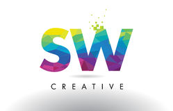 SW S W Colorful Letter Origami Triangles Design Vector. Royalty Free Stock Image