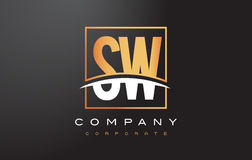 SW S W Golden Letter Logo Design with Gold Square and Swoosh. Royalty Free Stock Photography
