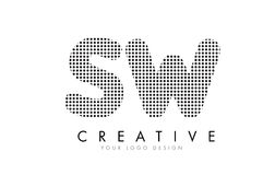 SW S W Letter Logo with Black Dots and Trails. Stock Images