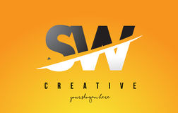 SW S W Letter Modern Logo Design with Yellow Background and Swoo Royalty Free Stock Images