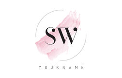 SW S W Watercolor Letter Logo Design with Circular Brush Pattern Stock Photo