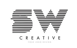 SW S W Zebra Letter Logo Design with Black and White Stripes Royalty Free Stock Image
