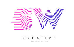 SW S W Zebra Lines Letter Logo Design with Magenta Colors Stock Photography