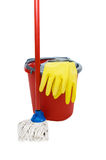 Swab, bucket and gloves for cleaning Stock Photos