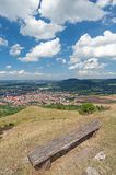 Swabian Jura, Southern Germany. Bench on top of hill with scenic view in the Swabian Jura, Southern Germany Stock Images