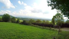 Swabian Mountains, panning to the famous emperor hill Hohenstaufen stock video footage